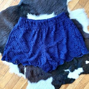 Free People Blue Lace Shorts Size XS